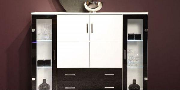Komoda 112 x 40 cm bílá / černá SCONTO LIBERO