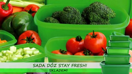 Sada pěti dóz Stay Fresh za nejnižší cenu! Pořiďte si skvělého pomocníka do kuchyně, díky dózám budou potraviny nejen čerstvé, ale i přehledně a úsporně uskladněné! Zboží je pro vás připraveno HNED K ODBĚRU: osobně na Praze 1 nebo dovoz kurýrem!