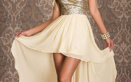 Plesové šaty béžové se zlatými flitry