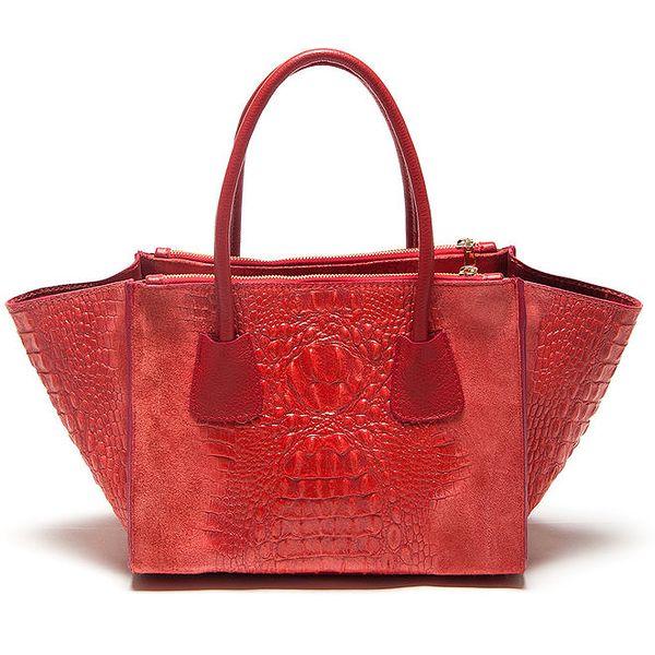 Dámská červená kabelka se vzorem krokodýlí kůže Mangotti