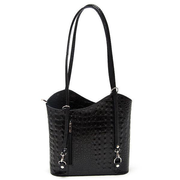 Dámská černá kabelka s krokodýlím motivem Mangotti