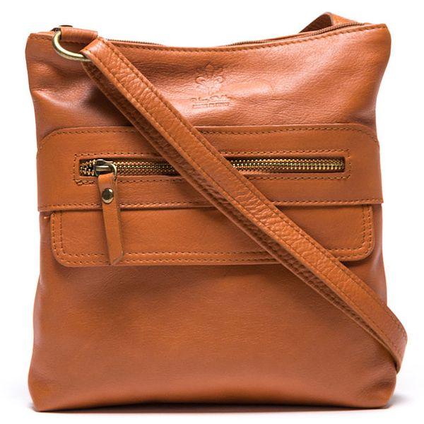 Dámská světle hnědá kožená kabelka se zipovými kapsami Mangotti