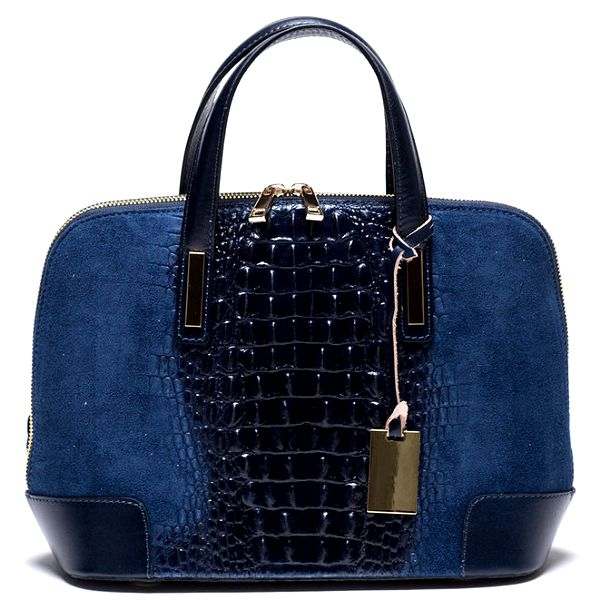 Dámská modrá kabelka se vzorem krokodýlí kůže Mangotti