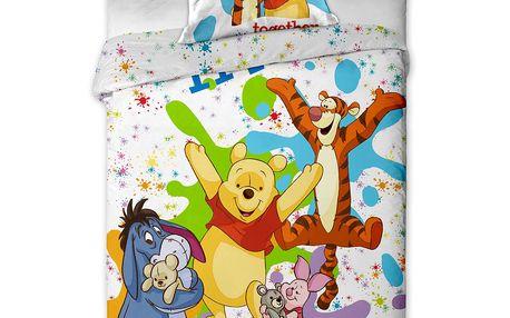 Dětské bavlněné povlečení Medvídek Pú colours, 140 x 200 cm, 70 x 90 cm
