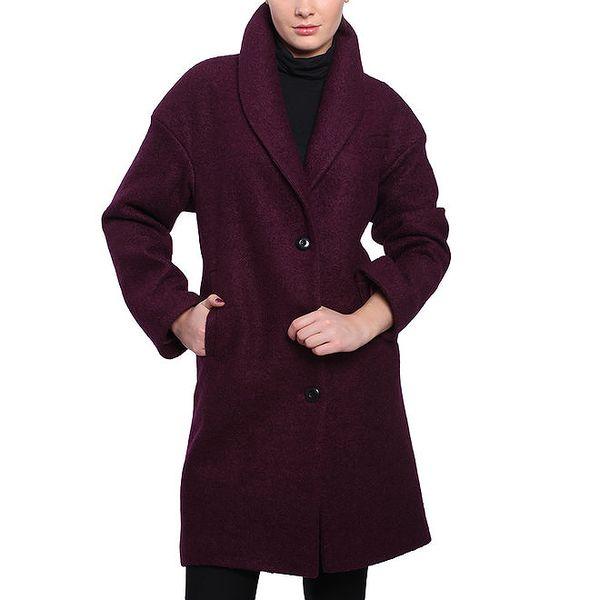 Dámský fialový kabát na knoflíky Vera Ravenna