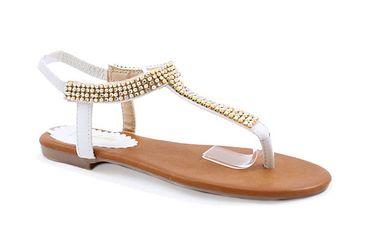 Dámské bílé sandály s korálky Balada
