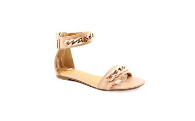 Dámské béžové sandálky se zlatým řetězem Balada