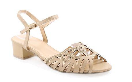 Dámské béžové sandálky se zlatými kolečky Balada