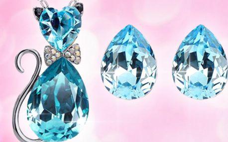 Set Crystal Catty Elements: náhrdelník s kočičkou a náušnice!