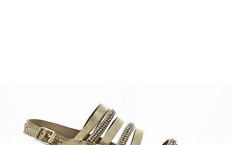 Dámské zlaté páskové sandálky Shoes and the City