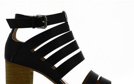 Dámské černé sandálky na podpatku Shoes and the City