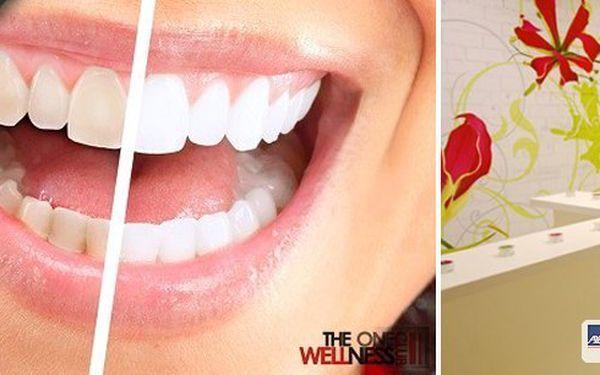 Chcete zářivě bílý úsměv? Dopřejete si neperoxidové bělení zubů přístrojem Whiten led v prestižním studiu The One Wellness Club aneboSlim for you.