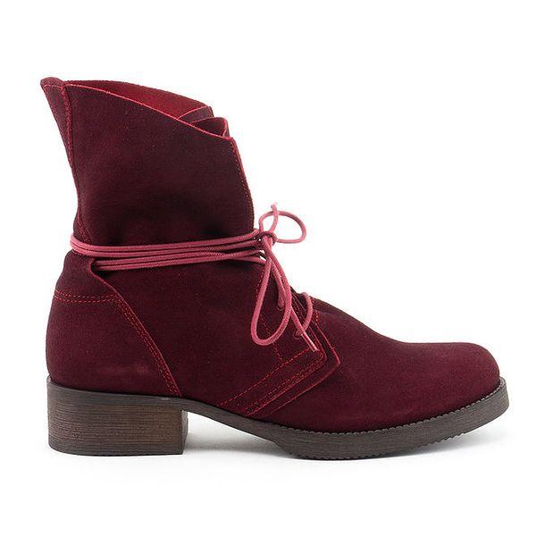 Dámské tmavě červené kožené boty se šněrováním Daneris