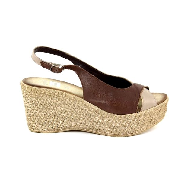Dámské kožené hnědé dvoubarevné sandálky Julie Julie