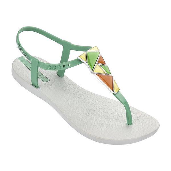 Dámské šedo-zelené sandálky s ozdobou Ipanema