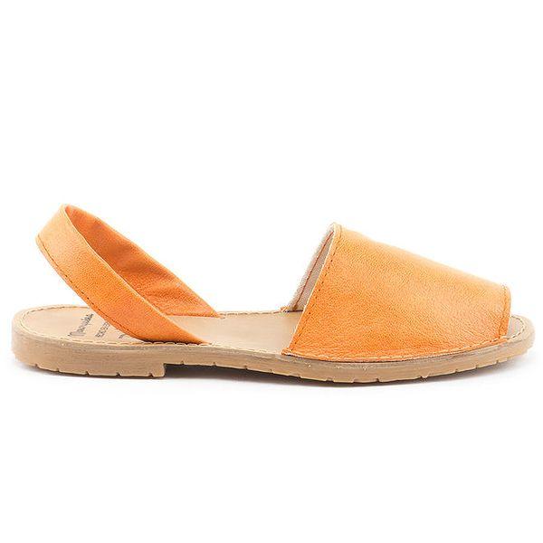 Dámské oranžové sandály z kůže Daneris