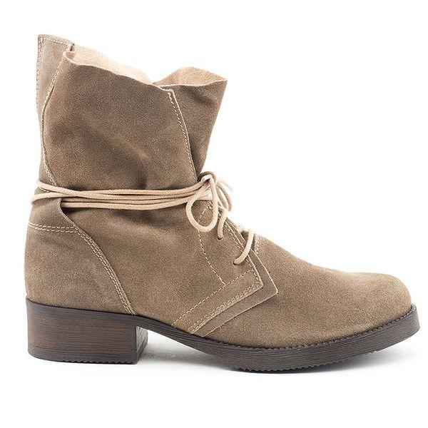 Dámské šedo-hnědé kožené boty se šněrováním Daneris