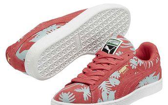 Dámské růžové tenisky s modrými květy Puma
