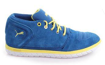 Pánské semišové modré boty se žlutými prvky Puma