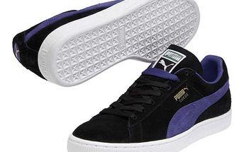 Pánské černé semišové tenisky s modrým pruhem Puma
