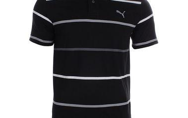 Pánské černé polo triko s proužky Puma