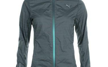 Dámská šedá běžecká bunda s barevnými proužky Puma