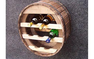 Stojan na víno - kulatý sud mořený, na7 lahví