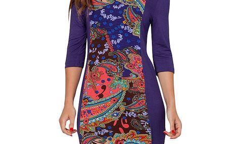 Dámské modro-fialové šaty s barevným vzorem Peace&Love