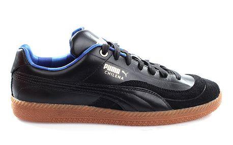 Pánské černé kožené tenisky s modrými prvky Puma