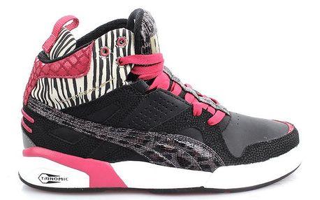Dámské černo-růžovo-bílé kotníčkové tenisky Puma