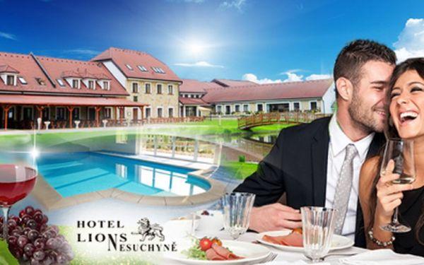 Luxus v Hotelu Lions! TŘI DNY se vstupem do BAZÉNU, POLOPENZÍ a vířivou koupelí se sklenkou chardonnay!