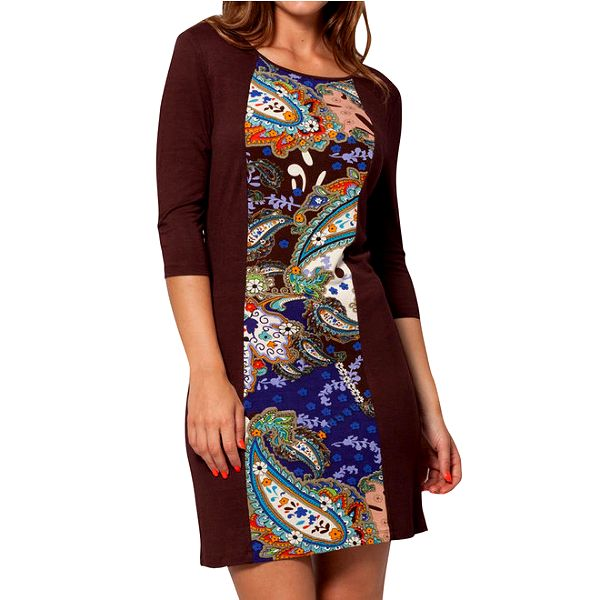 Dámské hnědé šaty s barevným vzorem Peace&Love