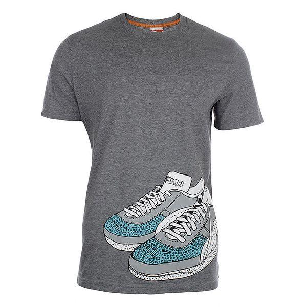 Pánské šedé tričko s potiskem tenisek Puma