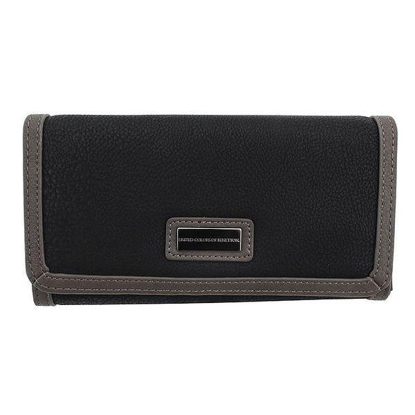 Dámská černá peněženka s šedým lemováním United Colors of Benetton