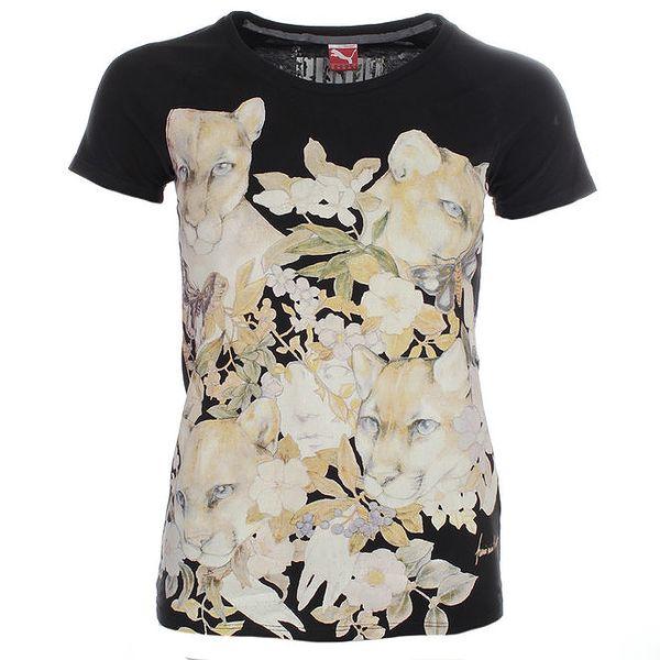 Dámské černé tričko s barevným potiskem Puma