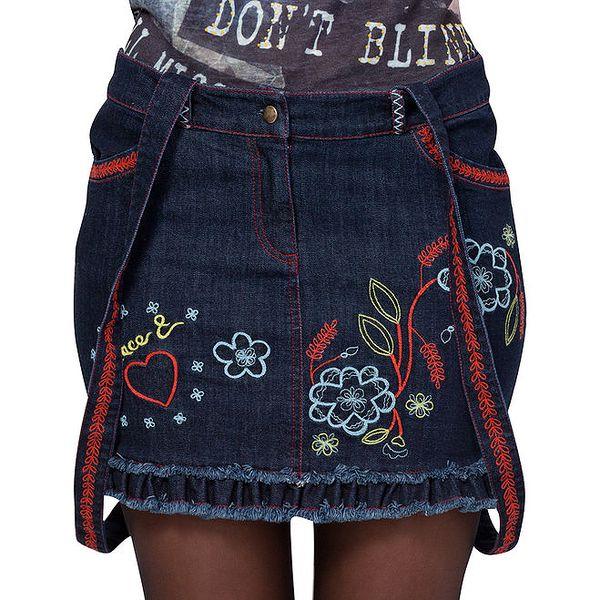 Dámská džínová sukně s barevnými výšivkami a kšandami Peace&Love