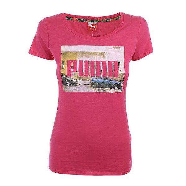 Dámské sytě růžové tričko s potiskem Puma