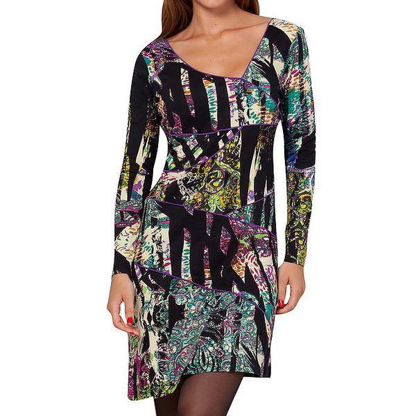 Dámské barevné vzorované šaty s asymetrickým výstřihem Peace&Love