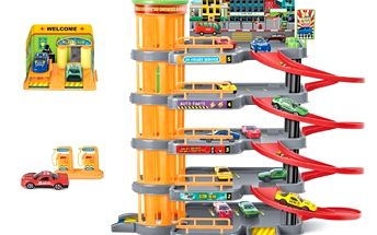 KidsHome Garáž 4 patra s autoservisem a 4 autíčka