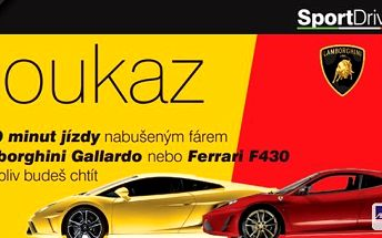 30 minut jízdy snů ve voze Ferrari F430 nebo Lamborghini Gallardo v Ostravě a Olomouci! Žijeme jen jednou, proto si s námi pojďte život pořádně užít! Věřte, že na jízdu v těchto autech nikdy nezapomenete! Platnost do konce června!