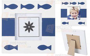 Dřevěný bílo-modrý foto rámeček s motivem rybiček a poštovné ZDARMA s dodáním do 3 dnů! - 9999912391