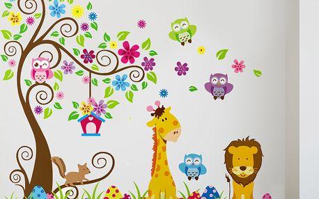 Hravá samolepka na stěnu Strom, žirafa a lev, 60x90 cm