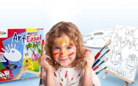 Dětská sada MALÝ VÝTVARNÍK! Předkreslené plátno 40x40cm, 10 akryl. barev, 4 štětce, paletu a malířský stojan!
