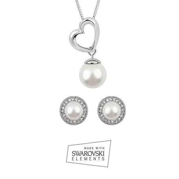 Dámská sada šperků Swarovski Elements - kulaté perlové náušnice s kamínky a náhrdelník se srdíčkem a perličkou