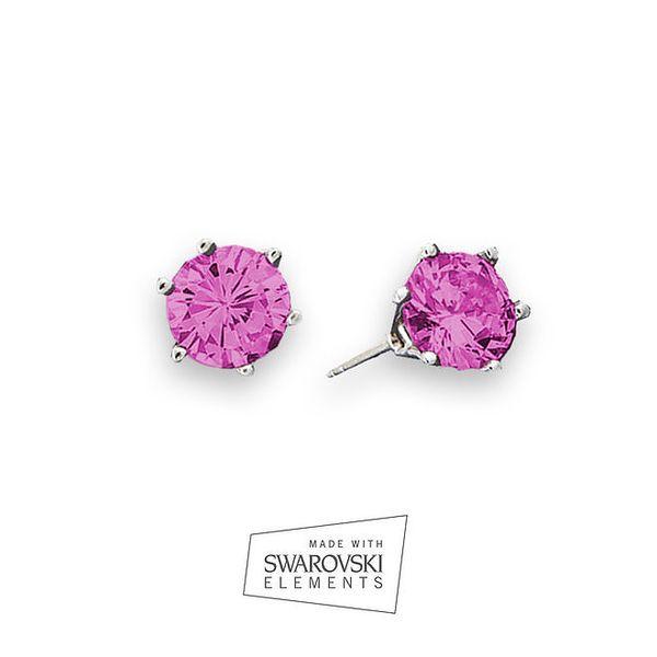 Dámské náušnice s růžovým krystalem Swarovski Elements