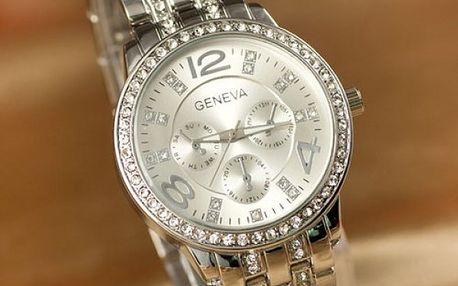 Luxusní hodinky GENEVA s čirými kamínky - 3 barvy