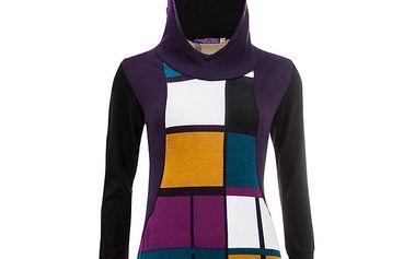 Dámská mikina s kapucí a barevným vzorem Purple Jam