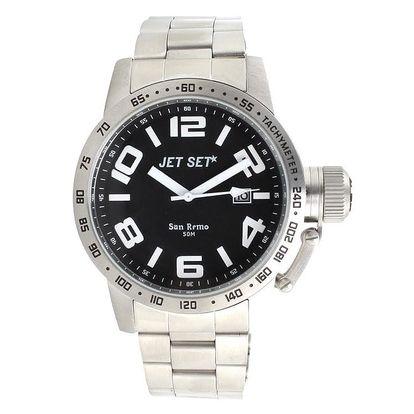 Pánské analogové hodinky ve stříbrné barvě Jet Set