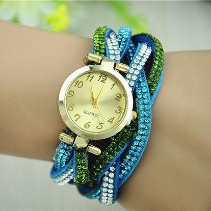 Proplétané náramkové hodinky s kamínky