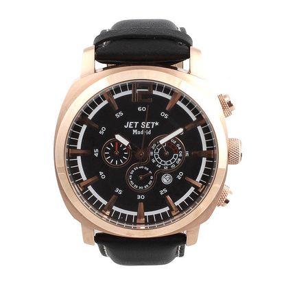 Pánské hodinky s datumovkou a černým koženým řemínkem Jet Set